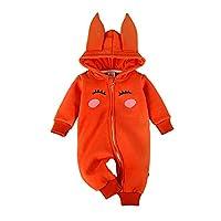 Bebone Baby Girls Rabbit Cartoon Hood Zipper Fleece Romper (Orange, 9-12M)
