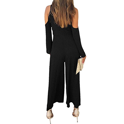 Lrud Sexy Damen Bodycon Lange Overall Ärmellos Abend Party Hohe Taille Strampler Playsuit Jumpsuit Black