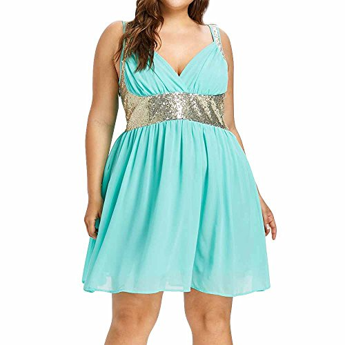 iYmitz Frauen V-Ausschnitt Bridal Party Spaghetti ärmelloses Kleid Pailletten Partykleider Empire-Taille ()