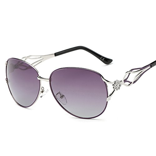 VeBrellen Damen Polarisierten Sonnenbrillen Driving Gläser Eyewear Schutzbrillen Blumen Dekoration (Lila, 62)