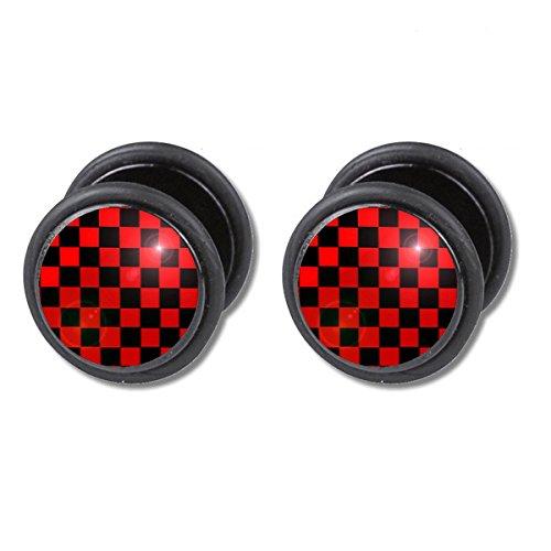 2-x-negro-rojo-cuadros-karos-quadrato-pendientes-acero-inoxidable-picture-fake-plug-earring-stainles