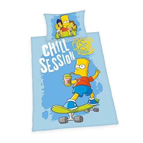 Herding Simpsons Bettwäsche-Set, Baumwolle, blau, 160 x 210 cm (Bettwäsche Simpsons)