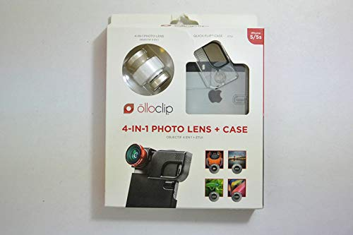 olloclip 4-IN-1 Photo Lens for iPhone 5/5s + Quick-Flip Case + Pro-Photo Adaptor (Gold Lens/White Clip/Clear Case) OCEU-IPH5-FW2M-GDW-C