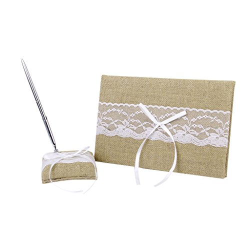 White Embellished Burlap Wedding Guest Book Pen and Stand Set by Generic (Pend-set)