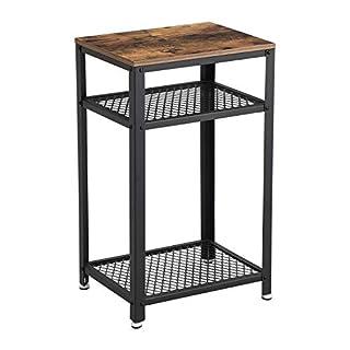 VASAGLE Hallway Side Table, Bedside Unit with 2 Mesh Shelves, End Table, in Office Hallway or Living Room, Stable Metal Frame Vintage LET75BX