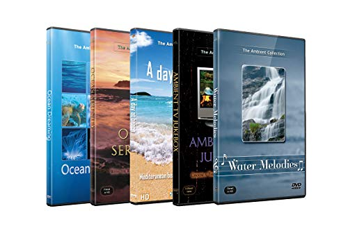 5 Disc Set DVD Combo Pack - Serene Waterfalls, Blue Ocean Waves, Colorful Fishes - Relaxation HD Videos with Nature Sounds or Music (Element Lcd)