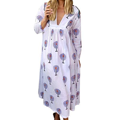 Zylione Damen Vintage Kleid Sommer Knielang Elegant Jerseykleid Freizeitkleid Blumen Drucken Kleid V-Ausschnitt Partykleid Swing Strandkleid Blumen Kleid Lange Lose Umstandskleid EU Größe: 34-44
