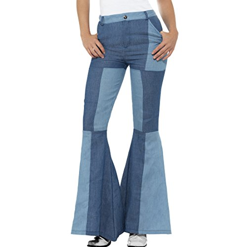 Amakando Schlaghose Damen Patchwork - L (42/44) - Jeansschlaghose Damen Bootcut Hose Hippie ausgestellte 70er Jahre Jeans Frauenhose Schlagerparty Schlagjeans blau - 70er Jahre Jean