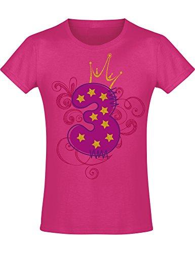 Geburtstags Shirt: 3 Jahre mit Krone Kinder - Geburtstags T-Shirt 3 Jahre Kind Mädchen - Geschenk zum 3. Geburtstag - Mädchen T-Shirt 3 Geburtstag - Geburtstag-Shirt Kinder 3 (104 (3-4 Jahre))