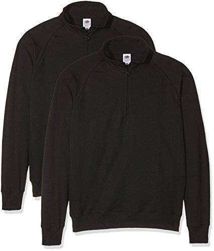 Fruit of the Loom Herren Sweatshirt Lightweight Zip Neck Sweat Schwarz (Black)