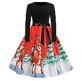 Luckycat Damen Weihnachtsweinlese Druckabend Partei Abschlussball Schwingen Kleid Abendkleider Cocktailkleid Partykleider Blusenkleid Mode 2018