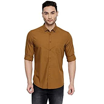 Dennis Lingo Men's Solid Slim Fit Casual Shirt (C301_Brown_S_Brown_S)