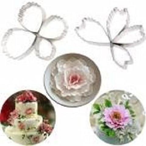 4 piezas de acero inoxidable de pétalos de flores molde cortadores de la galleta de la galleta de la torta Herramientas de decoración