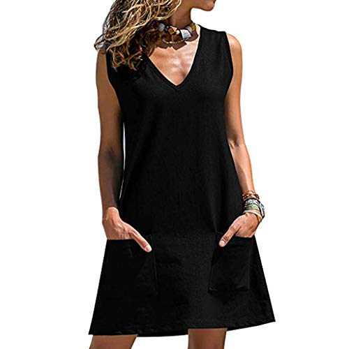 Women's Summer Casual V-Neck Sleeveless Swing Dress Sundress with Pocket, Spring Sale
