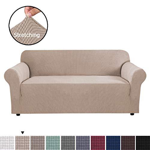BellaHills Stretch Sofabezüge 3 Sitzer Stoff Schonbezug Protector Couch Schonbezug für 3-Kissen-Couch (3-Sitzer: 183-229 cm) Maschinenwaschbare Sofabezüge Coloer Sand