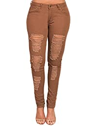 Women's Ladies Stunning Ripped Distressed Casual Skinny Fit Jeans