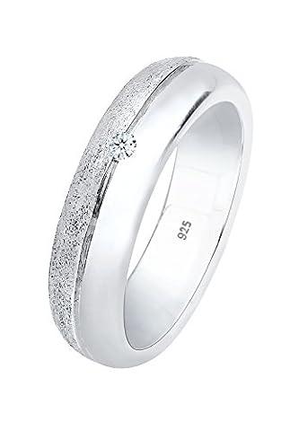Diamore Damen-Ring Verlobung 925 Diamant (0.03 ct) silber Brillantschliff Gr. 52 (16.6) - (0,03 Ct Diamant-set)