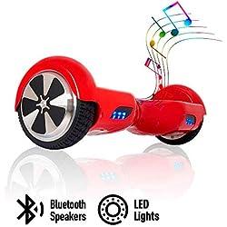 """ACBK - Patinete Eléctrico Hover Autoequilibrio con Ruedas de 6.5"""" (Altavoces Bluetooth + Luces Led integradas) Velocidad máxima: 10-12 km/h - Autonomía 10-20 km (Rojo)"""