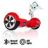 ACBK - Patinete Eléctrico Hover Autoequilibrio con Ruedas de 6.5' (Altavoces Bluetooth + Luces Led integradas) Velocidad máxima: 10-12 km/h - Autonomía 10-20 km (Rojo)