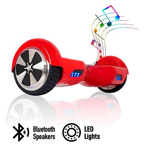acbk - patinete eléctrico hover autoequilibrio con ruedas de 6.5 (altavoces bluetooth + luces led integradas) velocidad máxima: 10-12 km/h - autonomía 10-20 km (rojo)