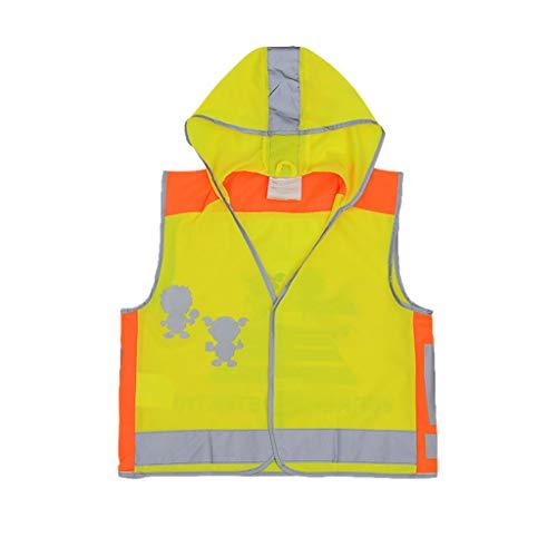 Reflektierende Weste der Kinder Sicherheit Reiten Kleidung Kind Student Cartoon Hut Text Muster Elastischer Draht Highlight Faser (Color : Yellow, Größe : M)