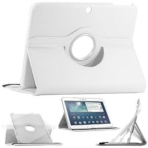 """ebestStar - Pour Tablette Samsung Galaxy TAB 3 10.1 10"""" P5200 / P5210 / P5220 / GT-P5210ZWAXEF - Housse Coque Etui en PU cuir rotatif ROTATION 360° (horizontal ou vertical) + 1 film de protection d'écran, couleur BLANC"""