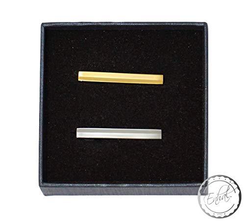 2-er Set kurze schmale Krawattenklammer   in eleganter Geschenkbox   für dünne und breite Krawatten   Silber Gold Krawattennadel   für Herren   Clip-Set   Business Krawatte   Krawattenhalter