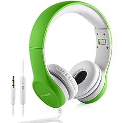 Auriculares para Niños, Hisonic Auriculares Plegable de Diadema con Cable Ajustables con Limitación de Volumen niños. (Verde)