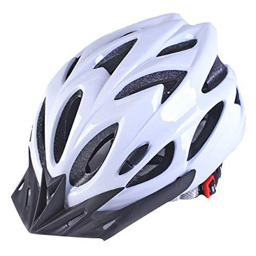 Cascos de Bicicleta Negro Mate Hombres Mujeres Casco de Ciclismo Luz de Fondo MTB Mountain Road Bike Cascos de Bicicleta Moldeados integralmente (Color: Blanco Puro)
