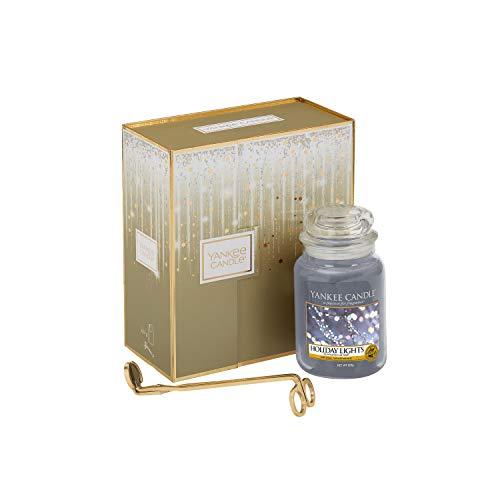 Yankee Candle-Geschenkset mit großer Duftkerze in der Duftrichtung Holiday Lights und Dochtschere (Gläser Light Holiday)