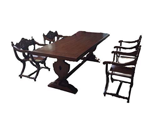 Rittertafel mit 6 Stück Scherenstühlen + 1 Massivholztisch 220cm Essgruppe Barock Mittelalter Esszimmergarnitur