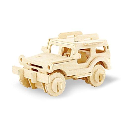 TOYMYTOY 3D Holzbausatz Holzpuzzle Kinder Modellbau Holz Auto Bausatz zum Zusammenstecken Pädagogisches Spielzeug Geschenk (Geländewagen)