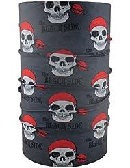 HeadLOOP - Braga para el cuello, modelo para niño, pañuelo de microfibra multifunción, diseño de calaveras piratas, color gris
