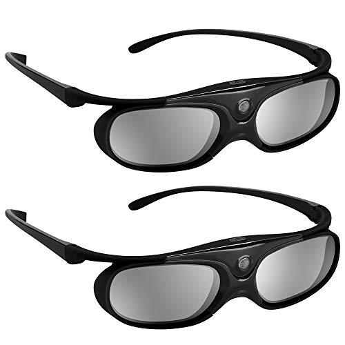 BOBLOV 3D Brille Aktive Shutter Glasses DLP-Link USB Schwarz Für BenQ W1070 W700 Dell Projektor (Schwarz 2Pack) (3d-dlp-projektor)