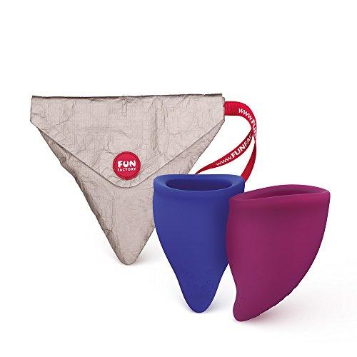 FUN FACTORY FUN CUP SIZE B - Zwei Menstruationstassen Groß inkl. Tasche Silikon (Blau/Lila) (B-cup)