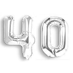 Idea Regalo - Palloncini per compleanno 40 anni gonfiabili ad elio colorati argento per party decorazione feste metallizzati