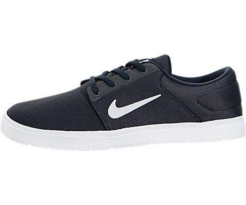 Nike Herren SB Portmore Skate Schuhe Sneaker Leicht Turnschuhe Skateboardschuhe Marineblau/Weiss 9 (44) (Print-innensohle)