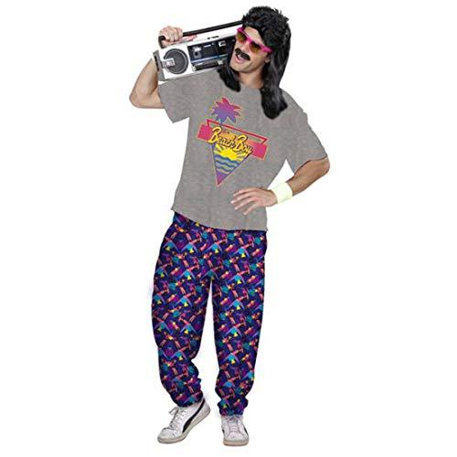 NET TOYS 80er Jahre Strand-Outfit für Männer | Grau-Violett in Größe M/L (50/52) | Lässiges Herren-Kostüm T-Shirt mit Jogginghose | Perfekt geeignet für Bad Taste Party & Themenabend (Bad Taste Party Kostüm)