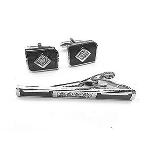 HONG-Accessories Krawattenklammer Set Manschettenknöpfe Herren Diamanten