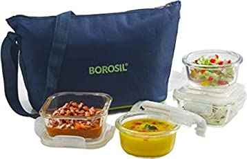Borosil Klip N Store Glass Daisy Tiffin Set of 4 (2pc 320ml Square, 2pc 240ml Round Container) (Set of 4-320ml x 2 Square, 240ml x 2 Round) Bag