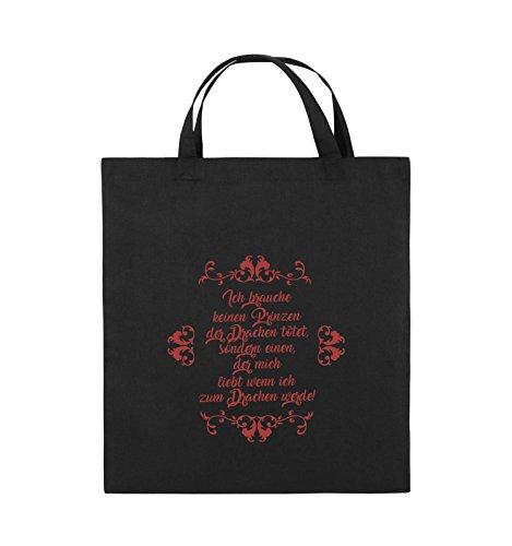 Comedy Bags - Ich brauchen keinen Prinzen der Drachen tötet - Jutebeutel - kurze Henkel - 38x42cm - Farbe: Schwarz / Silber Schwarz / Rot