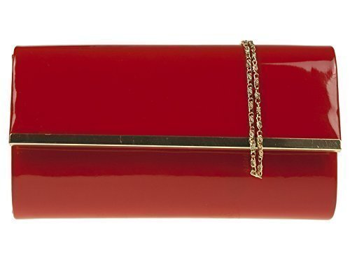 Haute Für Divas Damen Prominente Style Kunstlackleder Gold Trimm Party Abschlussabend Braut Hochzeit Abend Handtasche Clutch - Schwarz Rot
