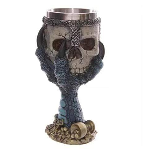 Moliies Taza de consumición Creativa de la Taza de Cerveza del cubilete del cráneo del Acero Inoxidable 3D