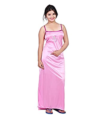 TRUNDZ Women's Satin Full-Length Nighty/Night Wear/Sleep Wear/Night Gown, Free Size (534, Dark Pink)