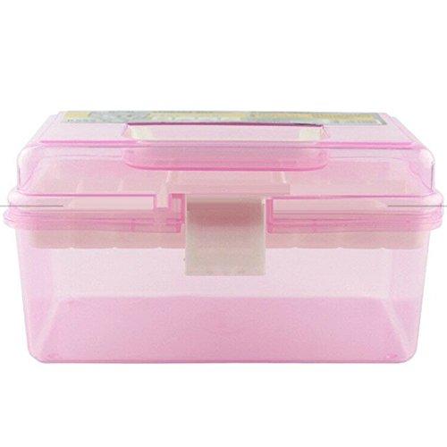 Kunststoff Aufbewahrungsboxen 2Schicht transparent Box Organizer mit Griff Deckel für Kosmetika Künstler Farben Pastells Plus Nähen und Craft Zubehör (Pastell-aufbewahrungsbox)