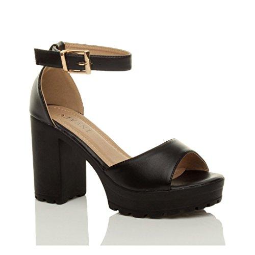 Femmes talons hauts bout ouvert sandales compensées semelle crantée pointure Noir mat