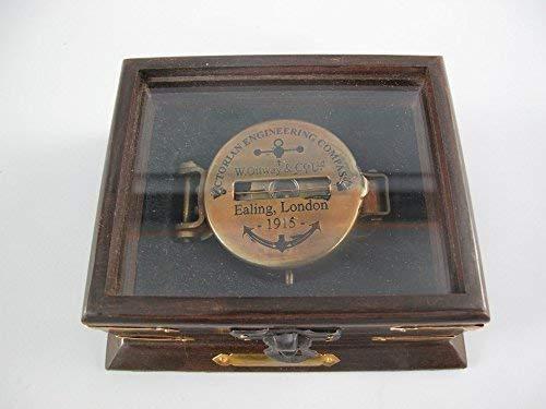 G1095: Peil- und Marschkompass WWI, Armee Kompass aus Altmessing in der Holzbox