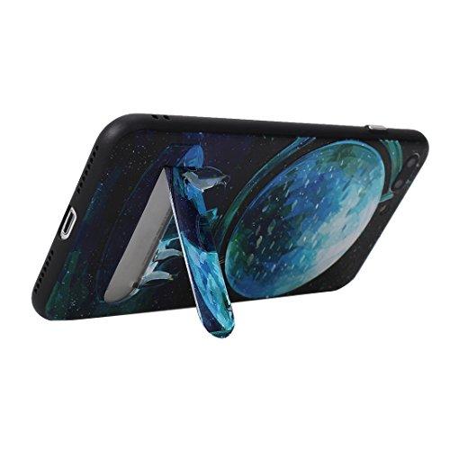 Coque Dure Pour iPhone 7 Plus / 8 Plus, Asnlove 2 in 1 TPU Silicone et PC Plastique Cas Relief Étui Mode Motif Exquis Housse Sentiment Mystique Cover Soulagement Case Noir Rigide Shell, Style-3 Style-4