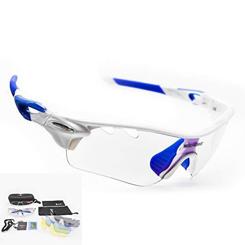 DUBAOBAO Sport Sonnenbrille Für Männer Und Frauen Polarisiert, 5 Austauschbare Objektive UV400 Schutz Angeln Fahren Laufen Golf-Bike-Brillen-Kurzsichtige Gläser Können Getragen Werden