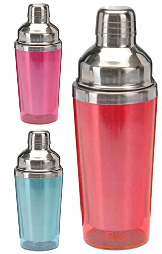 Marzoon Cocktailshaker/Cocktail Mixer aus Edelstahl mit Farbiger Kunststoff Antifrost-Ummantelung, 500 ml (Rot)